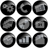 Black Icons. Communications organization, glossy vector illustration