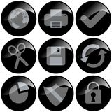 Black Icons. Round glossy black icons for useful tools royalty free illustration