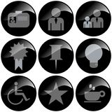 Black Icons. Black glossy office related icons on white stock illustration
