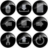 Black Icons. Black glossy icons for use in organization administration stock illustration