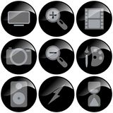 Black Icons. Black glossy icons, multimedia symbols for organization or corporation royalty free illustration