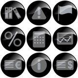 Black Icons. Representing money and currency, isolated on white background vector illustration