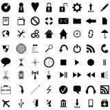 Black icons. Collection of black icons for designers to different necessities on a white background Royalty Free Stock Photo