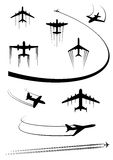 Black icons of airplanes and cargo planes Stock Photography