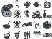 Black icons for asian and seafood menu Royalty Free Stock Images