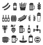 Black Icons of Beer and Snacks  on White Background Stock Images