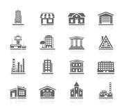 Black Icons - Buildings Stock Photo