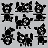 Black icons cats isolated on a gray Stock Images