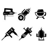 Black icons collection of construction equipment Stock Photography