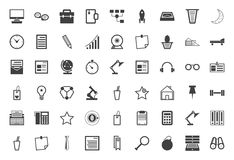 Black icons collection for freelance and business Stock Image