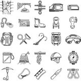 Black icons collection for rock climbing Royalty Free Stock Photos