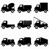 Black icons collection trucks royalty free illustration
