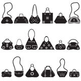 Black icons female bags Stock Images