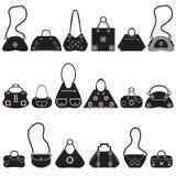 Black icons female bags. Black vector icons female bags. Original handbags Stock Images
