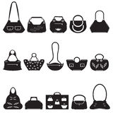 Black icons female bags Royalty Free Stock Images