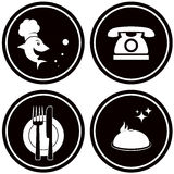 Black icons for fish menu Stock Image