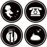 Black icons for fish menu. Set black icon for fish restaurant menu Stock Image