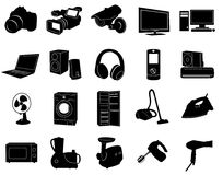 Black icons. Of home appliances Stock Photo