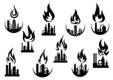 Black icons of industrial plants and factories. Petroleum refinery and chemical industrial plant icons set with silhouettes of flare stacks, pipes and flames Royalty Free Stock Photography
