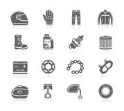 Black Icons - Motorcycle Gear & Accessories Royalty Free Stock Photos