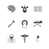 Black icons for neurology Royalty Free Stock Images