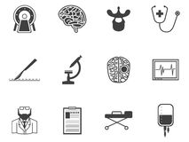 Black icons for neurosurgery Royalty Free Stock Image