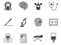 Black icons for neurosurgery Royalty Free Stock Image