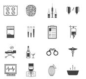 Black icons for the psychiatrist expert in Royalty Free Stock Photography