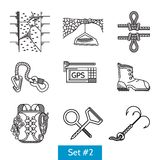 Black icons for rock climbing accessories Stock Photo