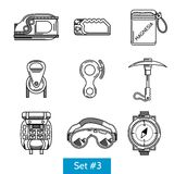 Black icons for rock climbing equipment Royalty Free Stock Photo