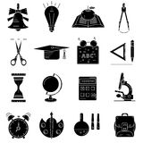Black icons about school and education. On white background Royalty Free Stock Photo