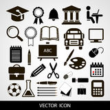 Black  icons set of education on a gray background. Vector. Royalty Free Stock Images