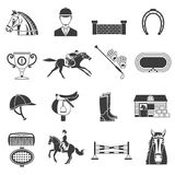 Black Icons Set With Horse Equipment Stock Images