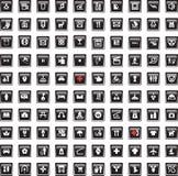 Black icons set sixteen Stock Photo