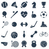 Black icons sports. Set black icons sports. Vector illustration Stock Photography