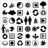 Black icons on white. Vector illustration of a set of ecological icons Royalty Free Stock Photography