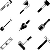 Black icons for woodwork tools Royalty Free Stock Photo