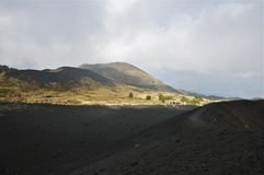 Slopes and Caldera Rim of Mount Etna, Sicily. Black Igneous Rock on a Caldera Rim of Mount Etna, Sicily Stock Images