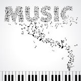 Music. Black illustration music notes create words Stock Image