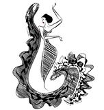 Black image of figure dancer. White background and abstract image of Spanish dancer in black color royalty free illustration