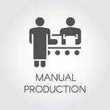 Black image of manual production concept. Simple icon of people working on conveyor at factory. Pictograph in flat style Royalty Free Stock Photos