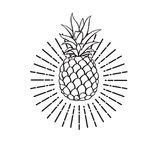 Image of pineapple fruit. Black image of pineapple tropical fruit Stock Images