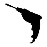 Black image silhouette with drill. Vector illustration Royalty Free Stock Images