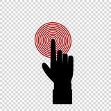 Black index finger of businessman pointing to the red target. Vector illustration of index finger pointing to the target, business concept, black hand with index Stock Photography