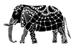 Black Indian elephant. Indian elephant. Hand drawn doodle indian elephant with tribal ornament. Vector ethnic elephant Stock Image