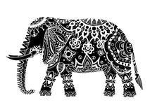 Black Indian elephant. Indian elephant. Hand drawn doodle indian elephant with tribal ornament. Vector ethnic elephant Stock Images