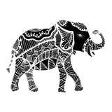 Black Indian elephant. Indian elephant. Hand drawn doodle indian elephant with tribal ornament. Vector ethnic elephant Royalty Free Stock Photo