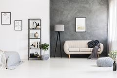 Free Black, Industrial Shelving Unit, Gray Knot Pillow On A Leather S Royalty Free Stock Image - 121130276