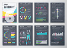 Black infographic business brochure elements in vector format vector illustration
