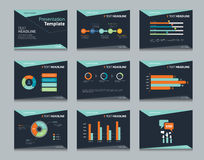 Black infographic powerpoint template design backgrounds . business presentation template set Royalty Free Stock Photos